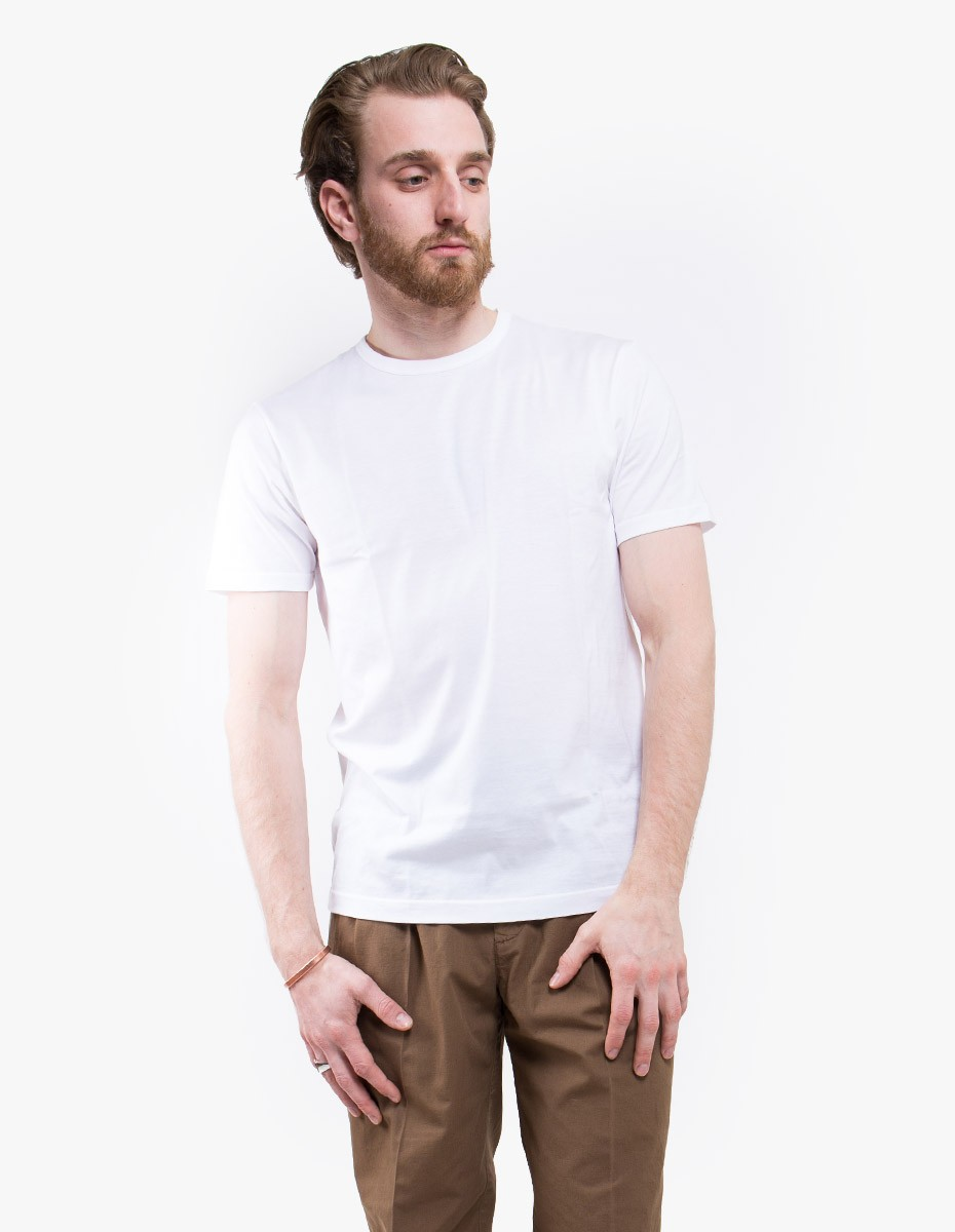 Sunspel Q82 Short Sleeve Crew Neck in White