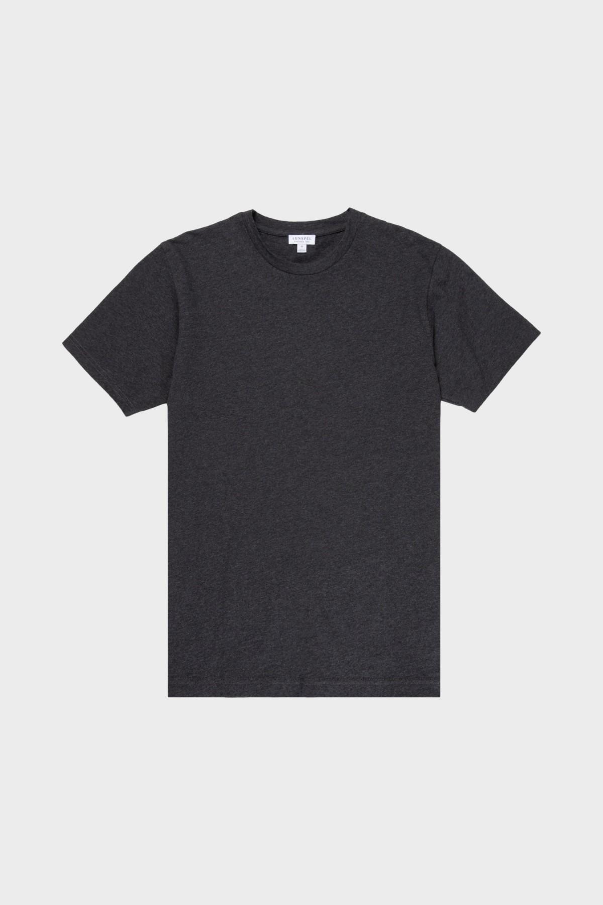 Sunspel Riviera Crew Neck T-Shirt in Charcoal Melange