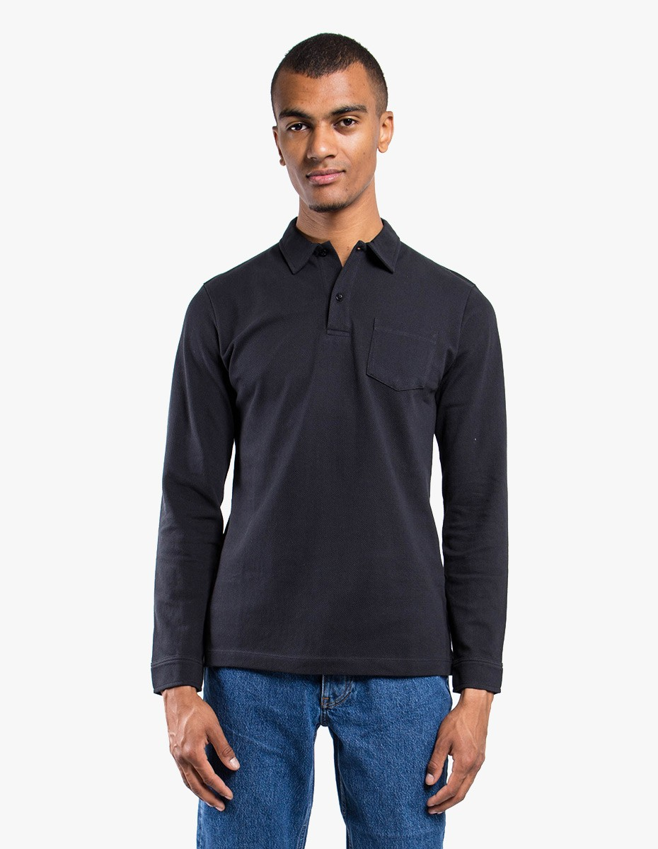 Sunspel Long Sleeve - Riviera Polo  in Black