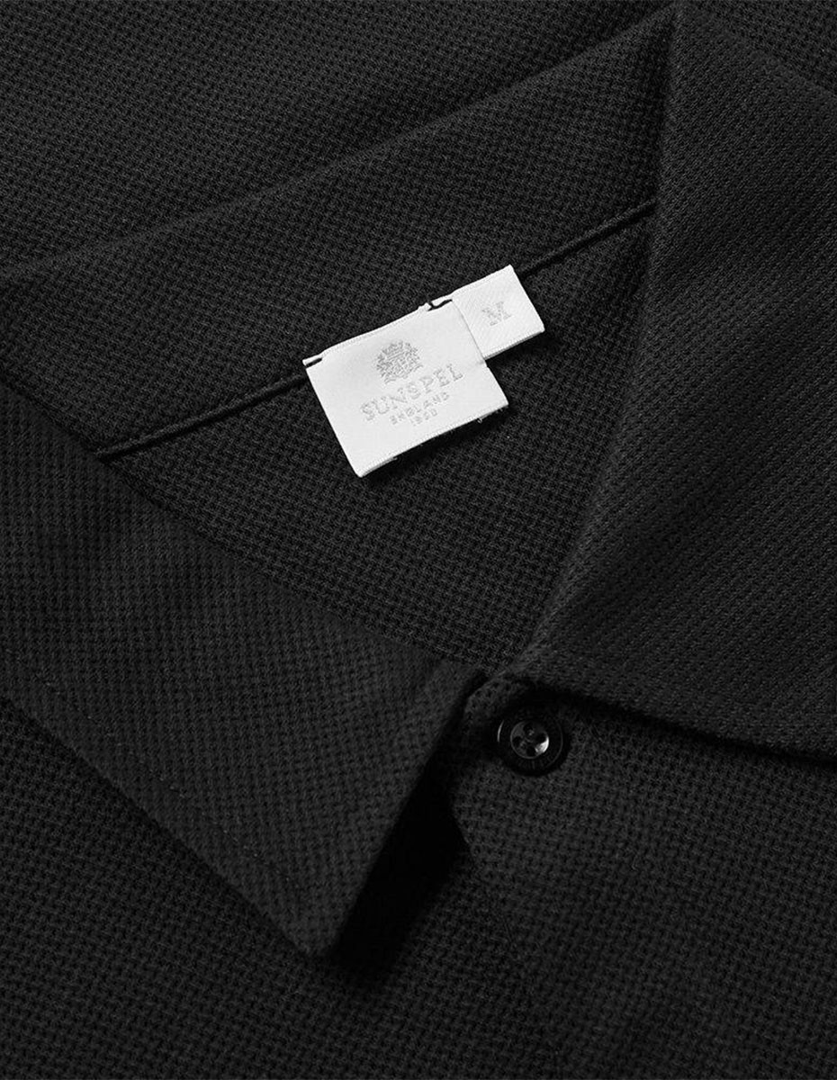 Sunspel Short Sleeve - Riviera Polo  in Black