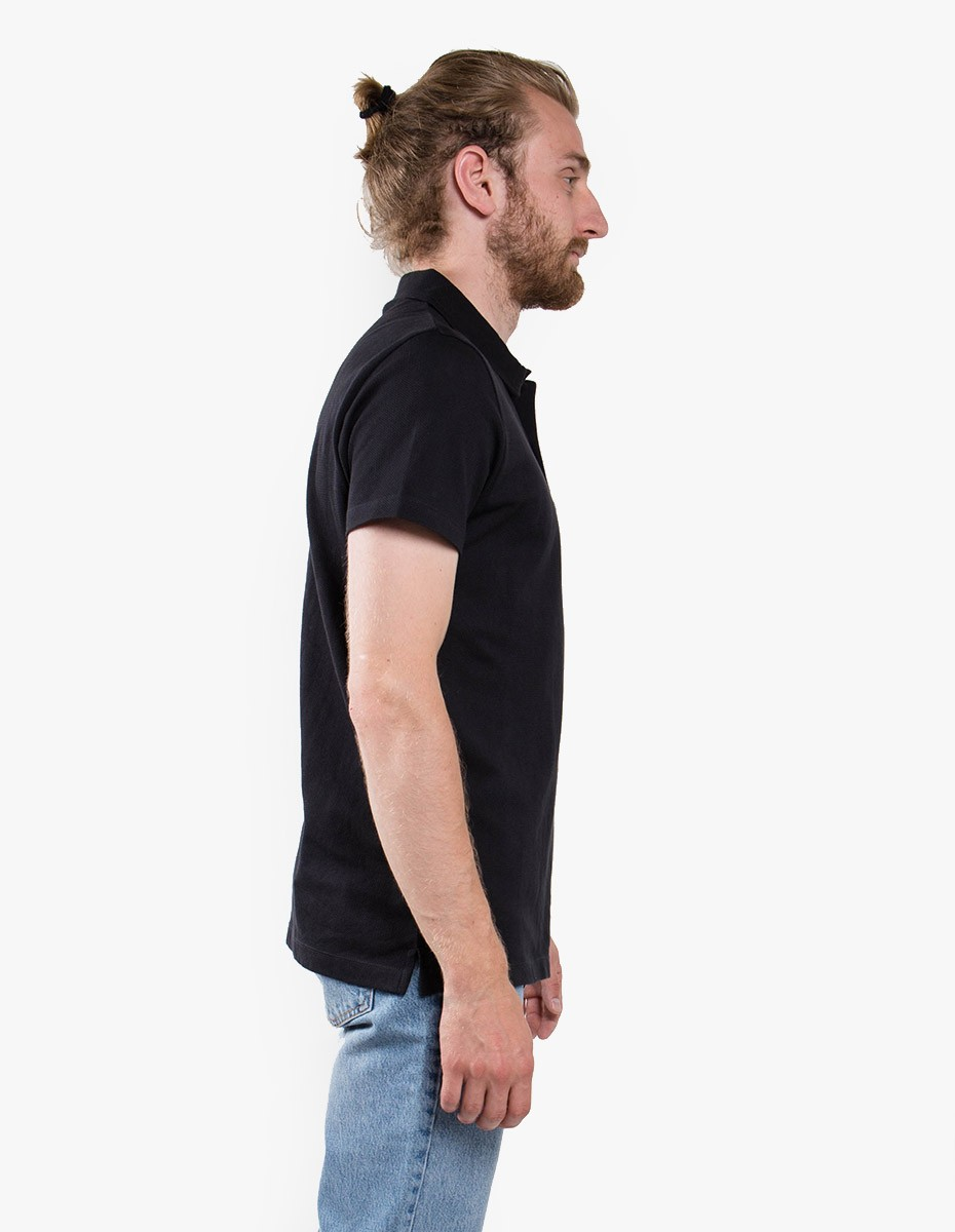Sunspel Short Sleeve - Riviera Polo  in Black