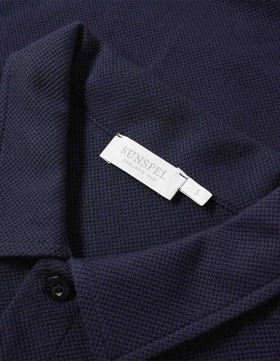 Sunspel Short Sleeve - Riviera Polo  in Navy