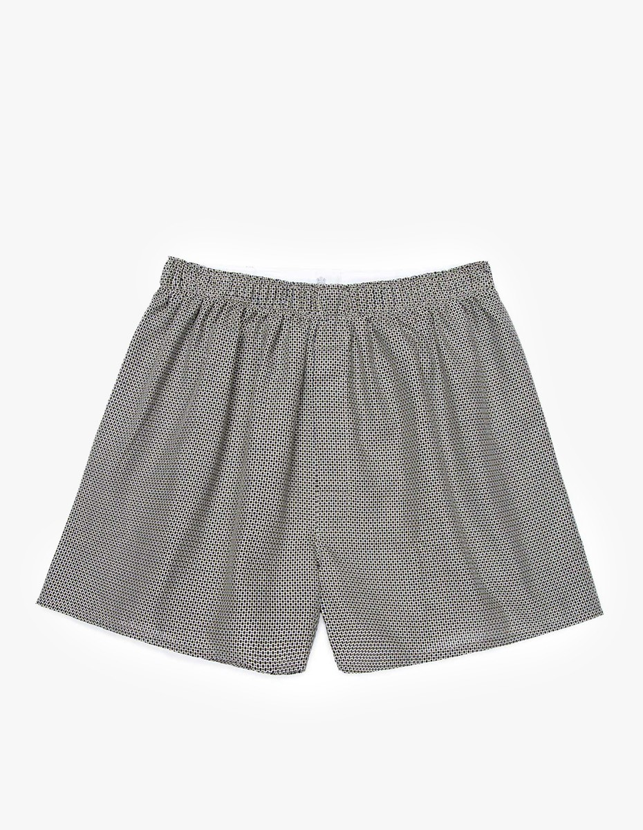 Sunspel Seasonal Boxer Short  in Square Print Navy
