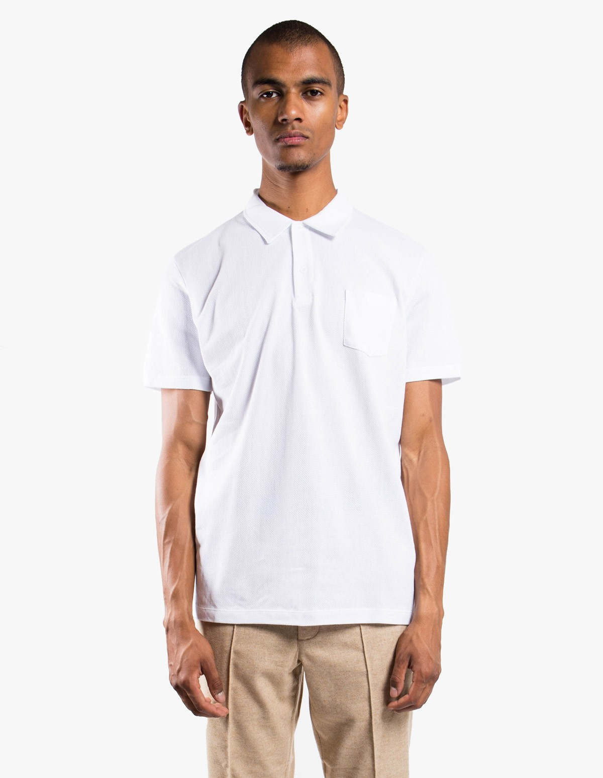 2b0bf910 Short Sleeve Riviera Polo in White - Sunspel | Afura Store