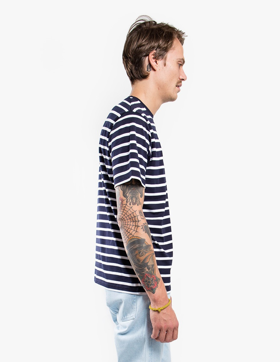 Sunspel Short Sleeve Striped Crew Neck in Navy / White