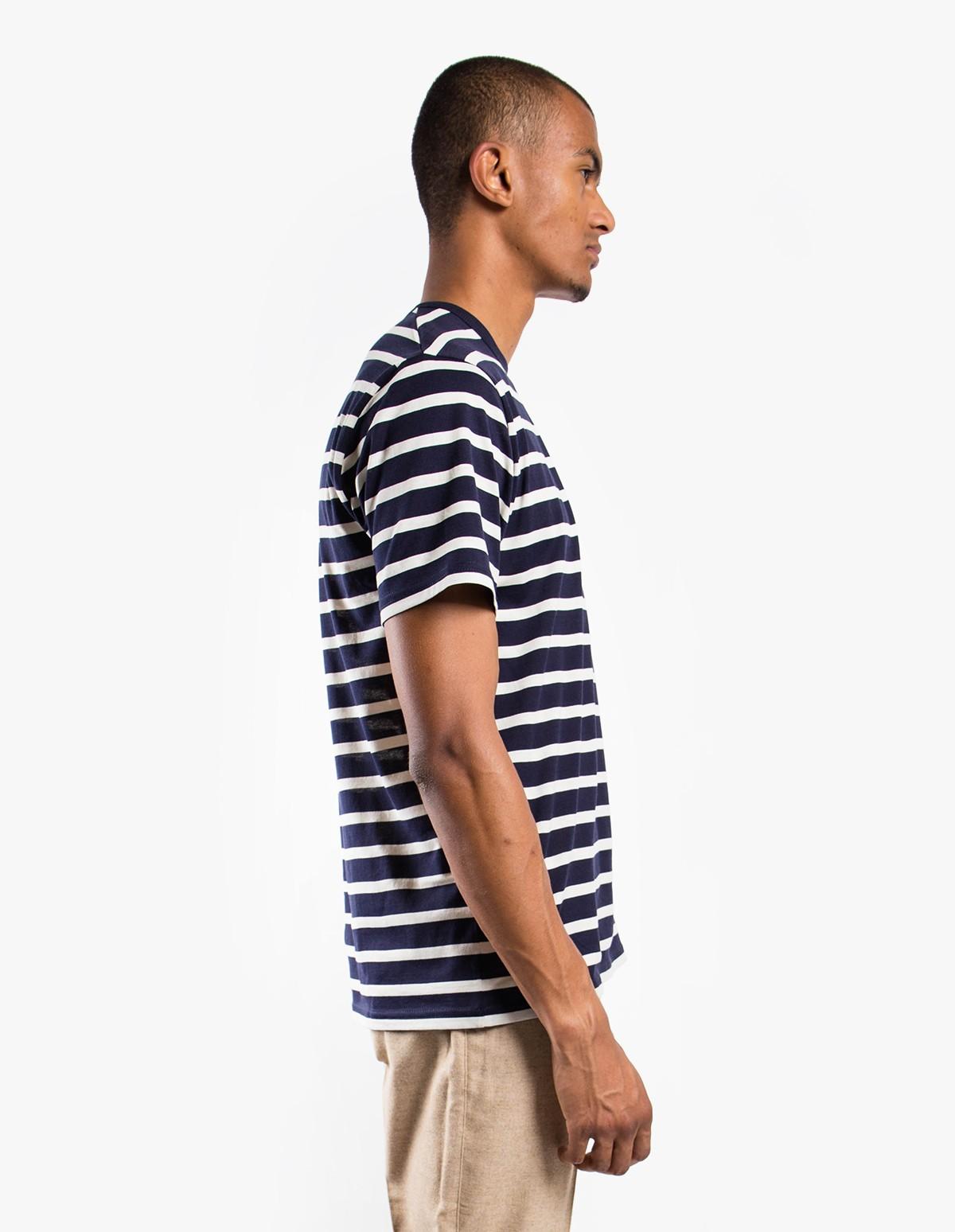 Sunspel Short Sleeve Striped Crew Neck T-Shirt  in Navy Ecru