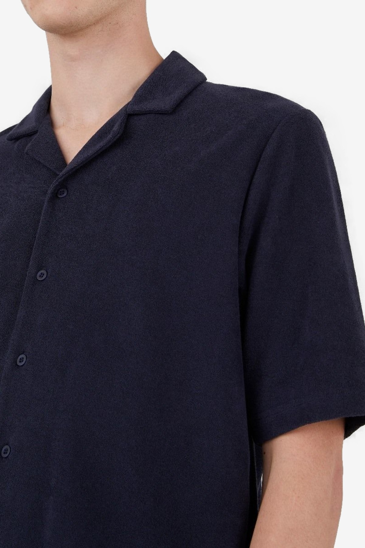 Sunspel Towelling Camp Collar Shirt in Navy