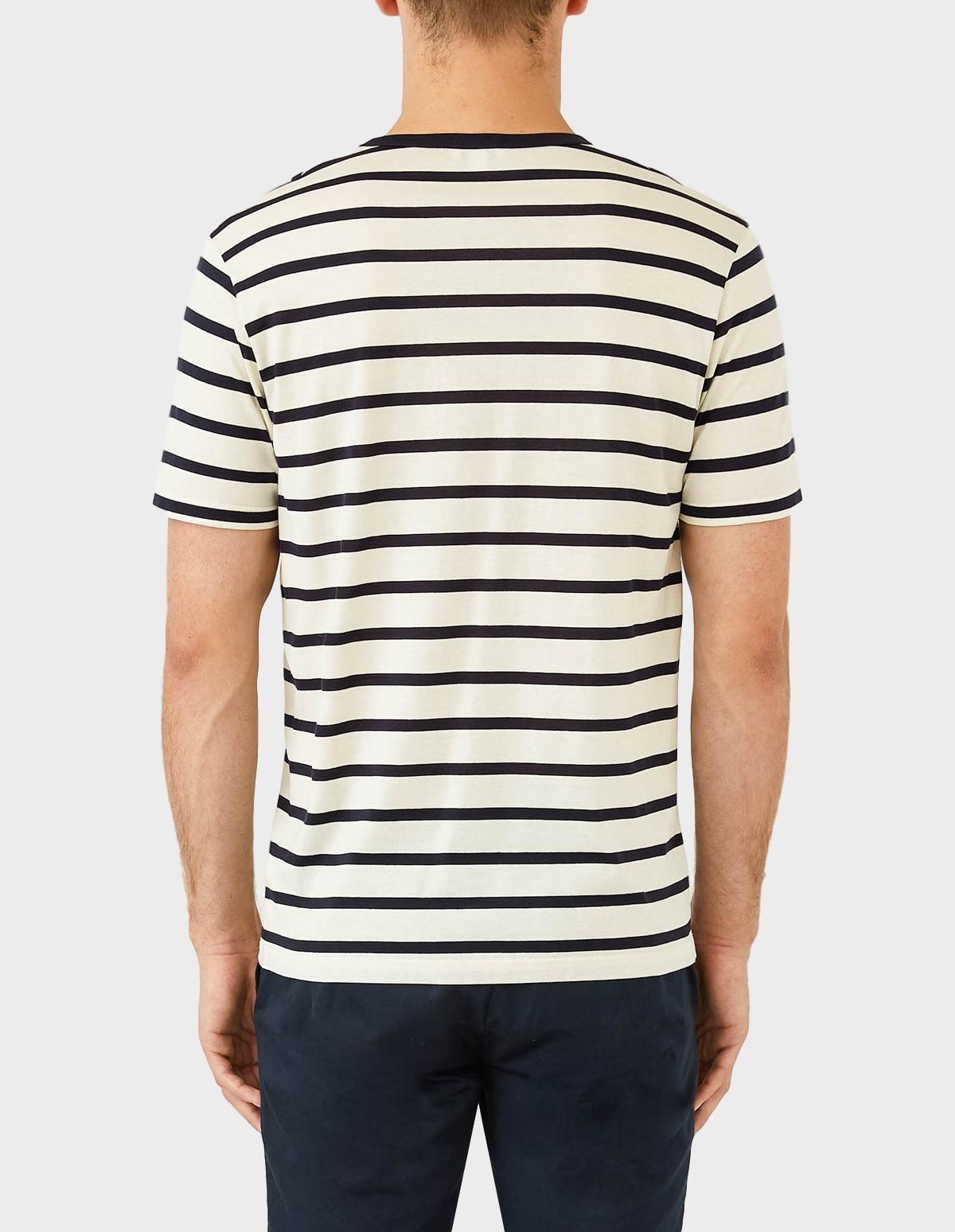 Sunspel Short Sleeve Striped Crew Neck T-Shirt in Ecru / Navy