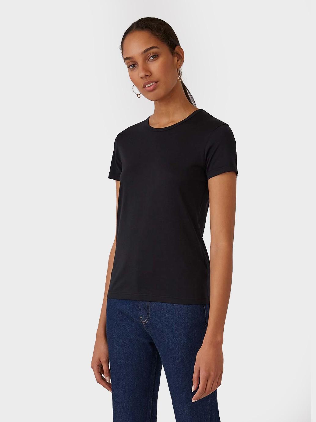 Sunspel Short Sleeve Classic Cotton T-Shirt in Black