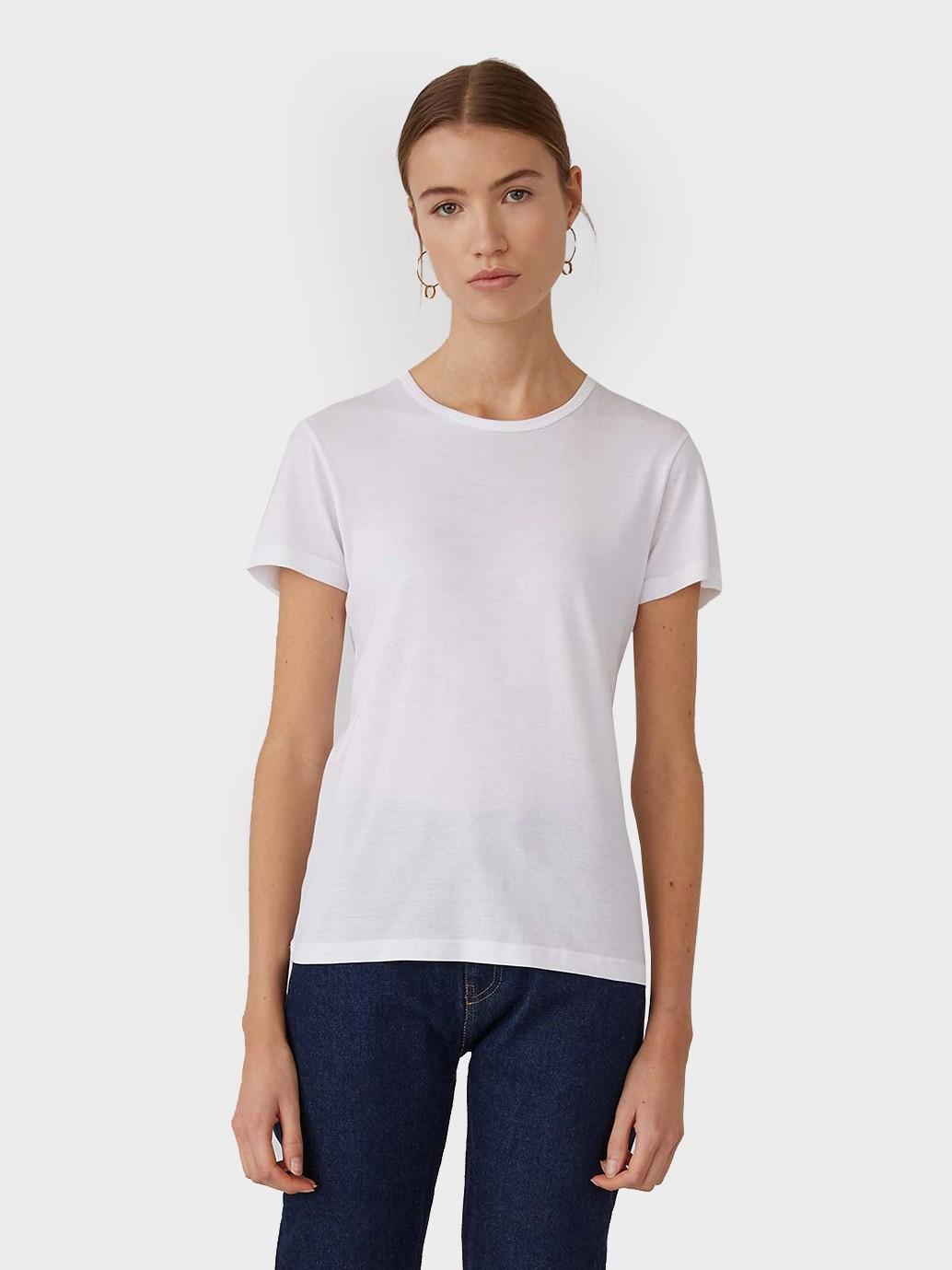 Sunspel Short Sleeve Classic Cotton T-Shirt in White
