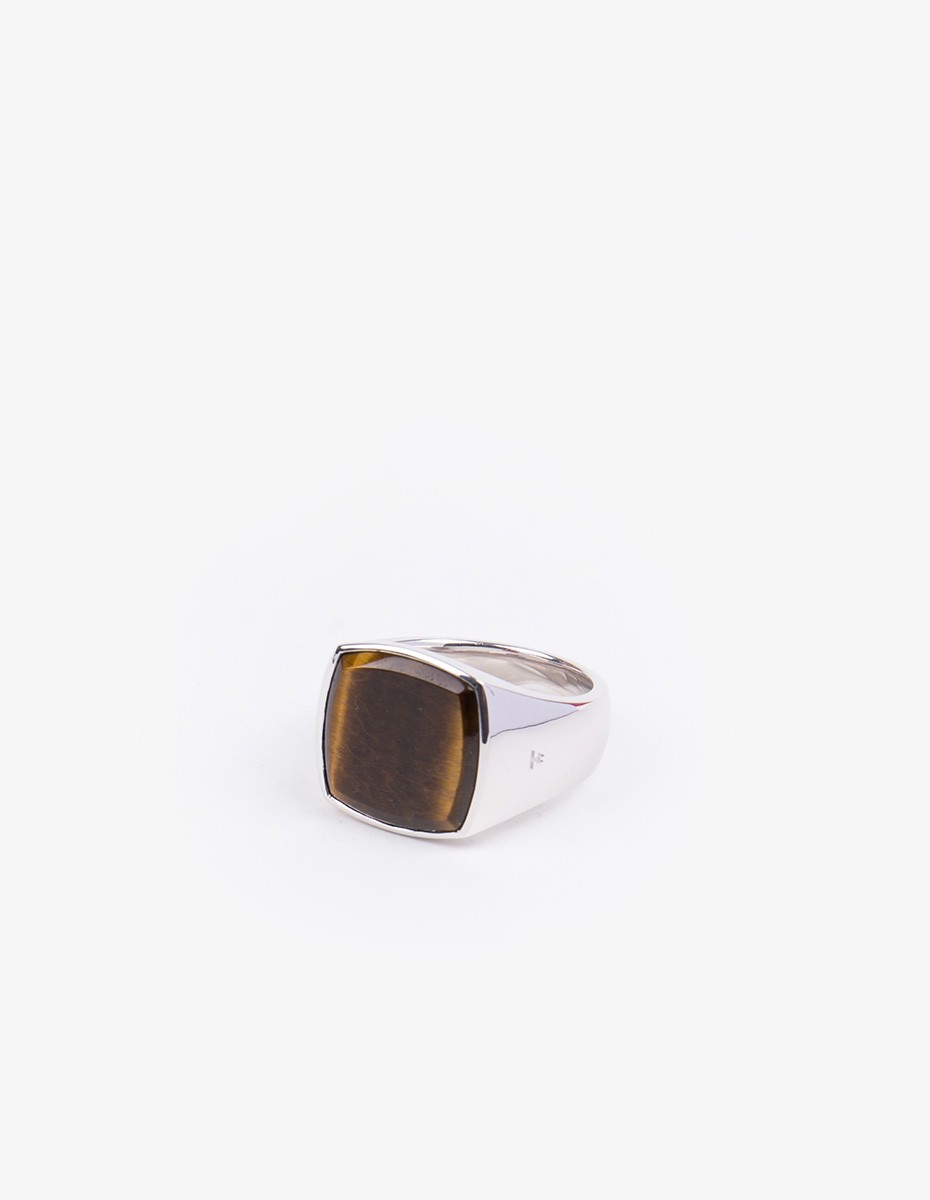 Tom Wood Cushion Tiger Eye Ring in Silver