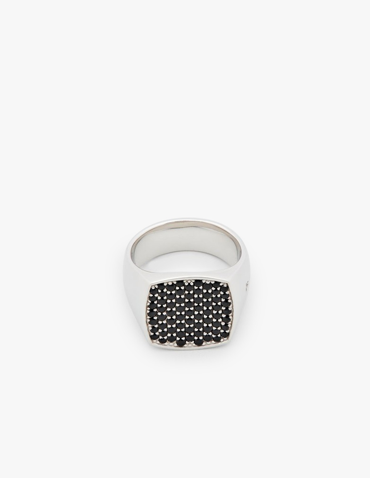 Tom Wood Pinkie Cushion Black Spinal Ring in Silver