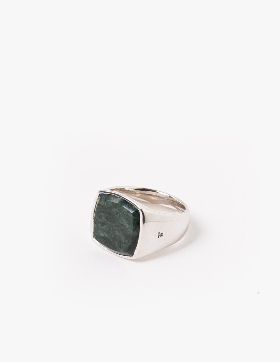 Tom Wood Cushion Green Marble Ring in Silver