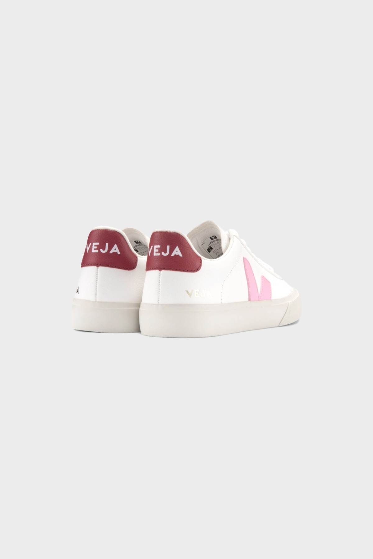 Veja Campo Chromefree Leather in Extra White Guimauve Marsala