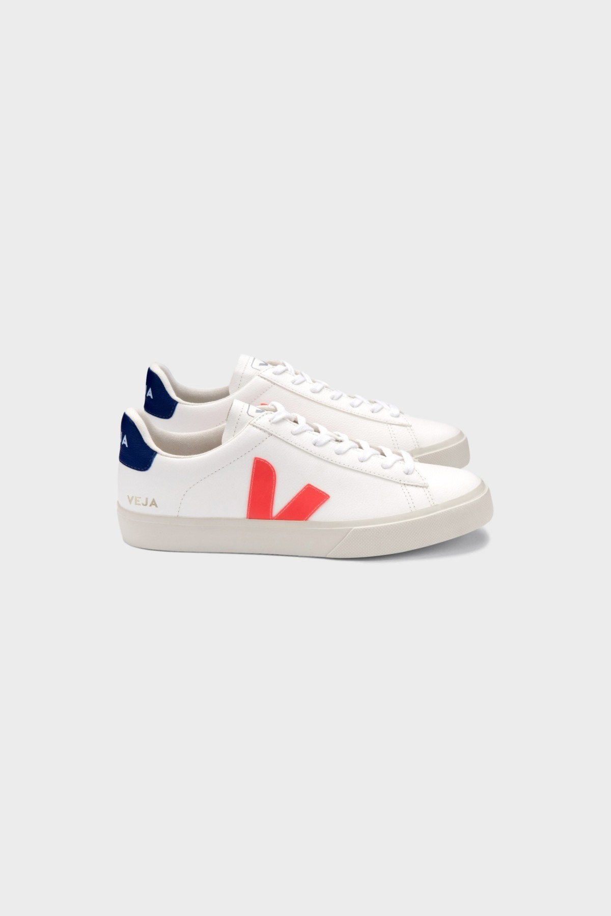Veja Campo Chromefree Leather in Extra White Orange Fluo Cobalt