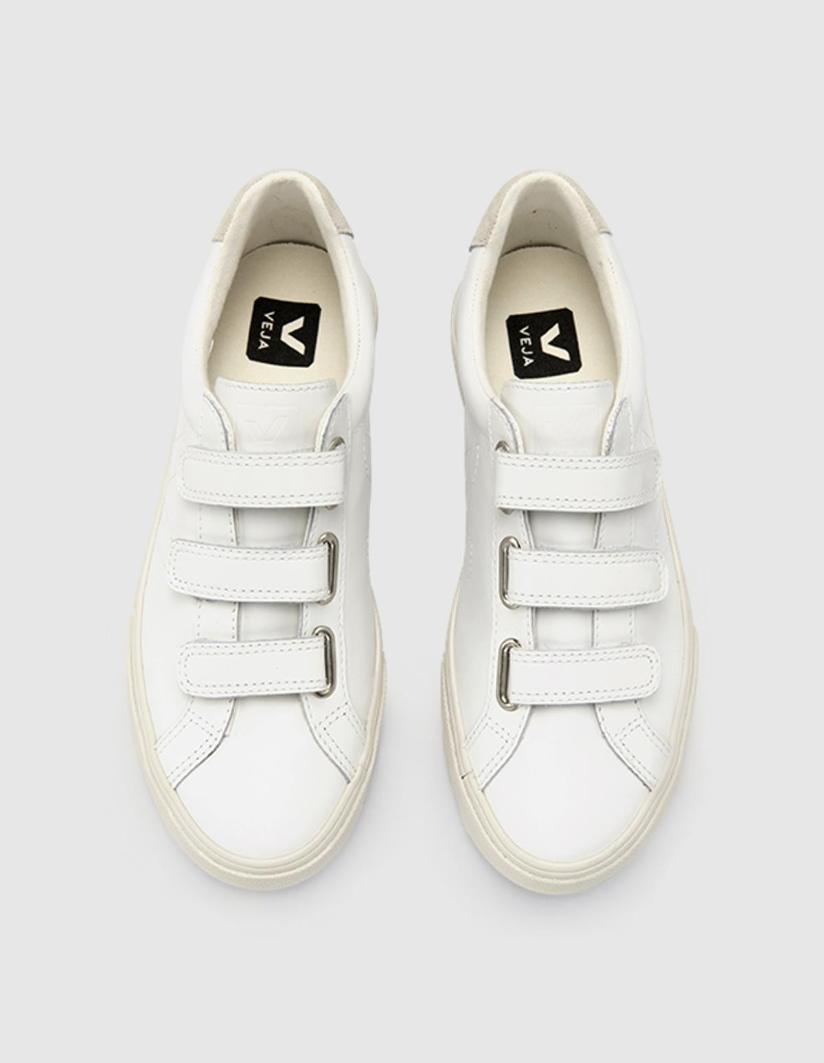 Veja Esplar 3-Lock Leather in  Extra White