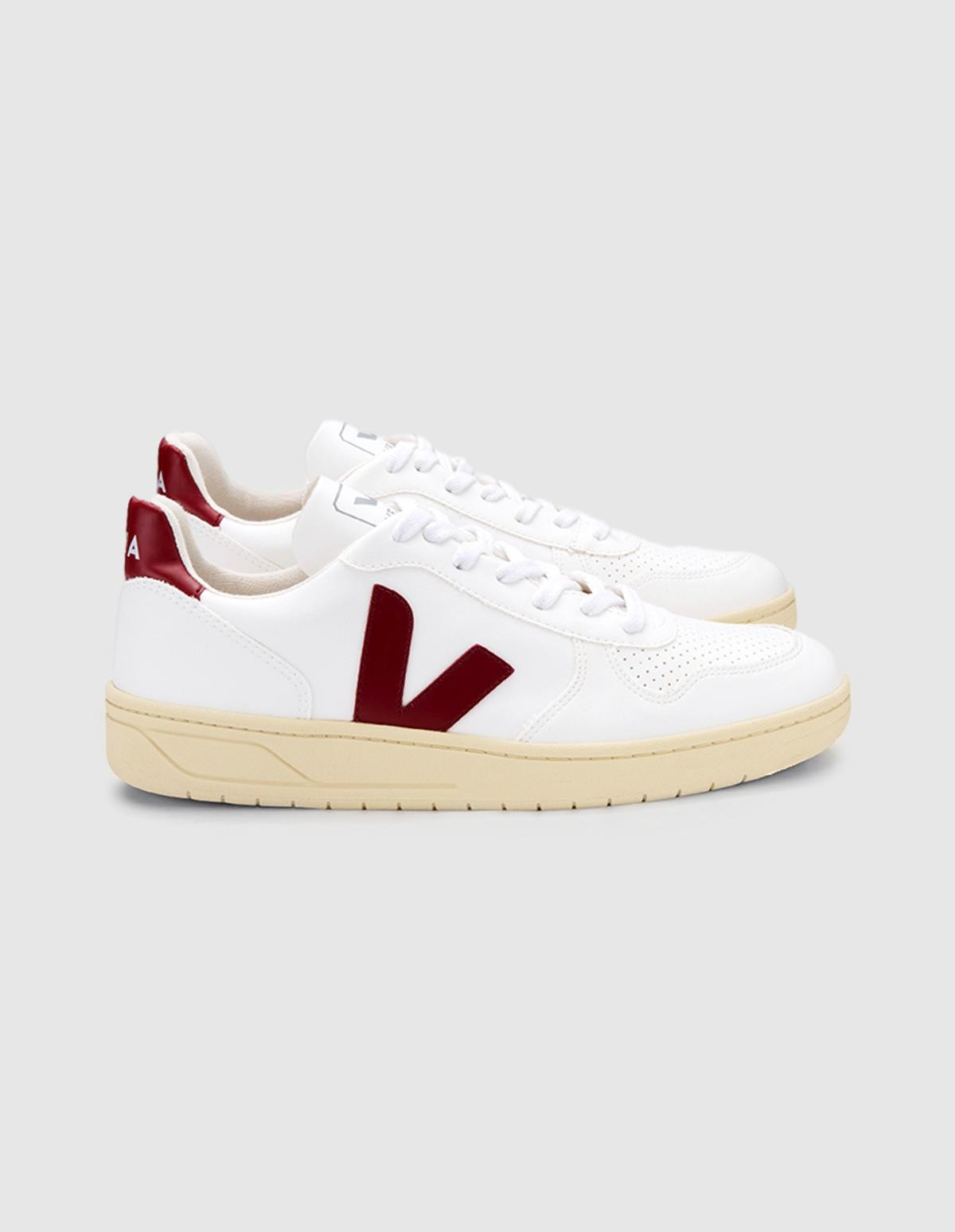 Veja V-10 Leather Bastille in White Marsala Butter Sole