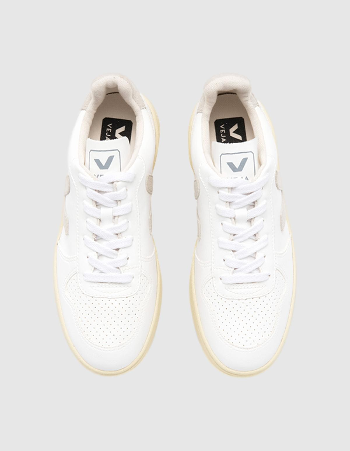 Veja V-10 Leather Bastille in White Natural Butter Sole