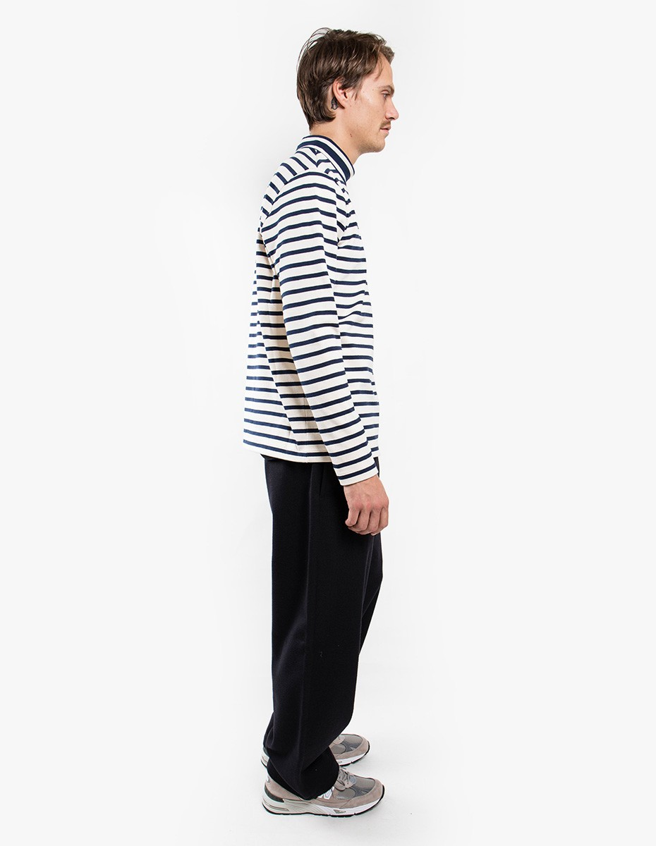 YMC You Must Create Chino Turtle Neck in Ecru / Navy