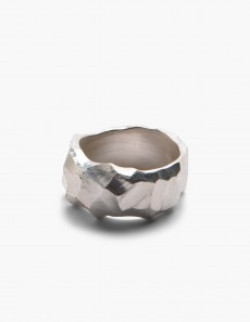 Rauk Narrow Ring - Carved Silver