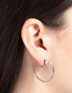 Earrings Level Round Silver