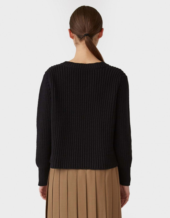 Cotton Cashmere Chunky V-Neck Sweater