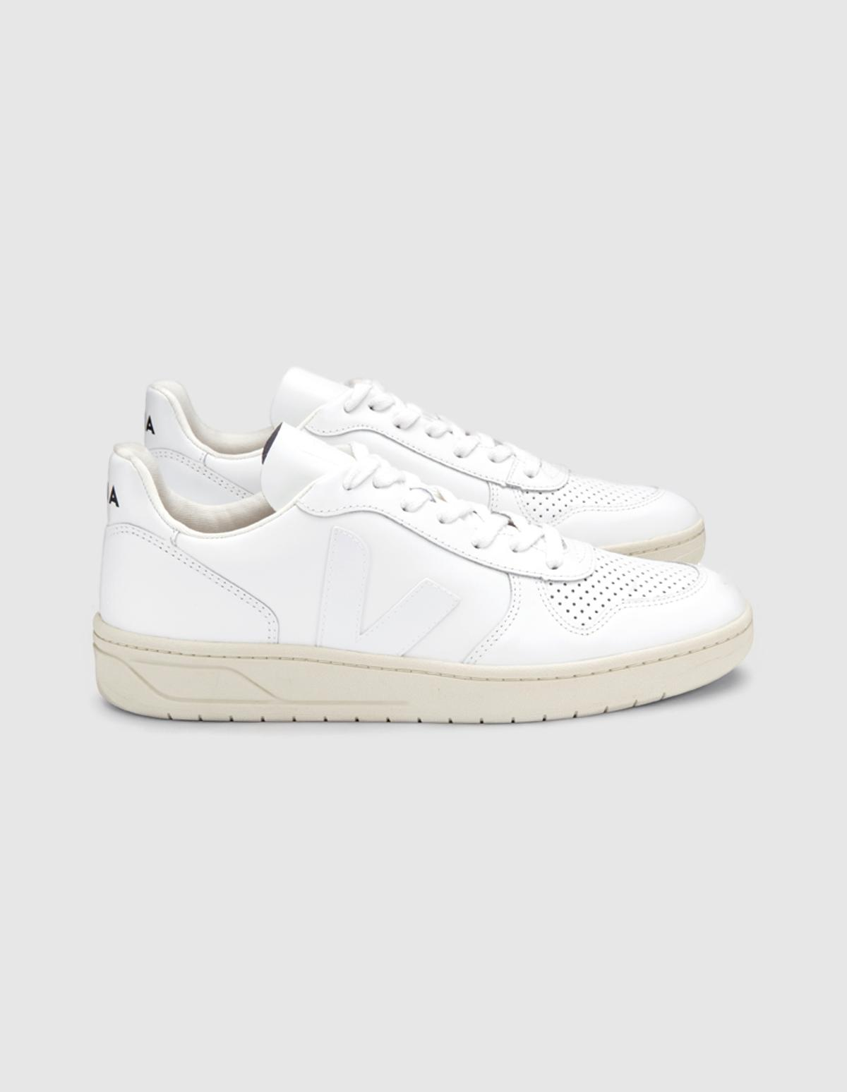 V-10 Leather Sneakers in Extra White